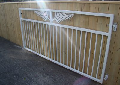 Custom made single swing gate to clients design