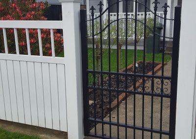Decorative single swing pedestrian gate