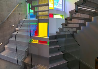 Frameless Glass Balustrade panels shaped to stairway