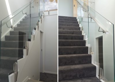 Frameless Glazed Architectural Glass Vice Balustrade panels follow stair line