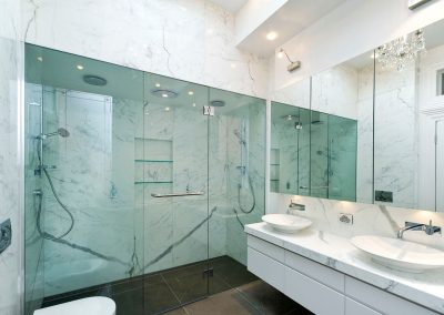 Glazed Custom Made Shower and Large Mirrors