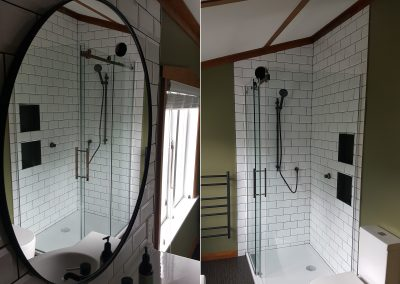 Large Custom Made Mirror and Glazed Shower