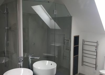Large Custom Made Mirror reflecting Glazed Shower