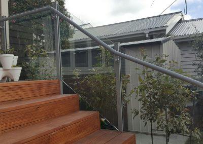 Powder coated aluminium Handrail contoured to stairs