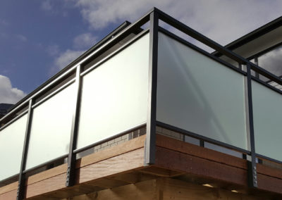 Framed Decor Horizon Balustrade with opaque panels to provide privacy